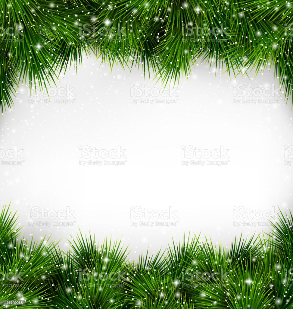 Shiny Green Christmas Tree Pine Branches Like Frame with Snowfal vector art illustration