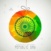 Shiny colorful hanging ball with Ashoka Wheel on grey background for Happy Indian Republic Day celebration.