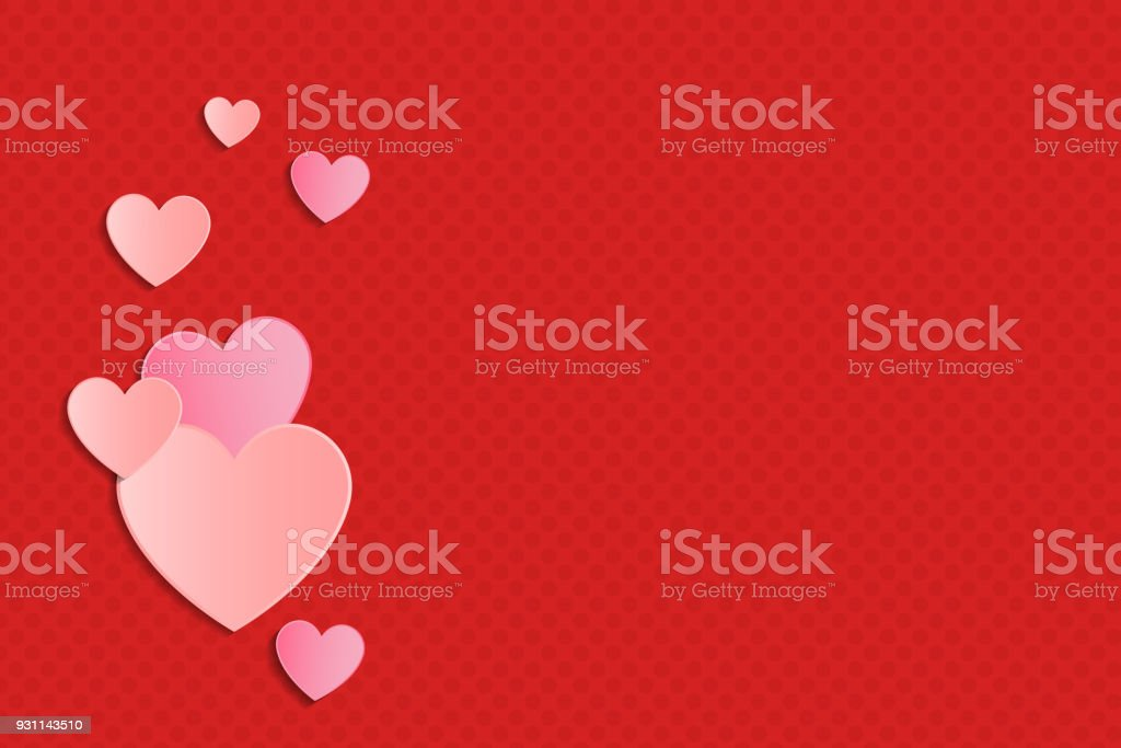 Shiny Hearts On Dotted Background With Copyspace Template Of Poster