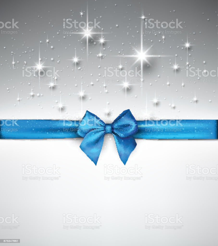Shiny holiday background with blue bow. vector art illustration