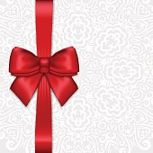 Shiny holiday red satin ribbon bow on white lacy background