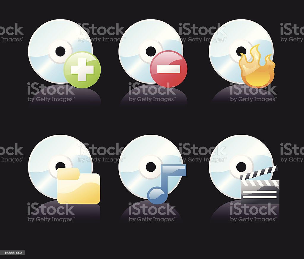 shiny icons: cd & media (on black) royalty-free stock vector art