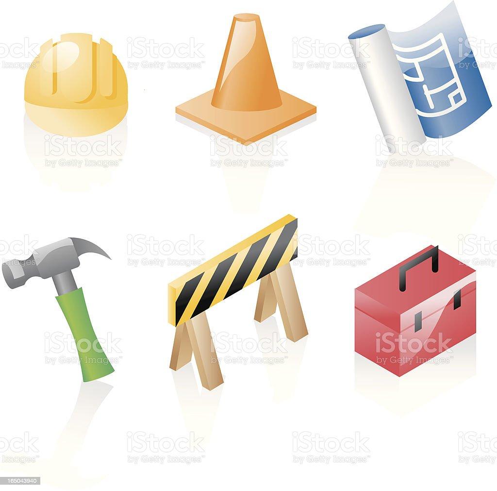 shiny icons: construction royalty-free stock vector art