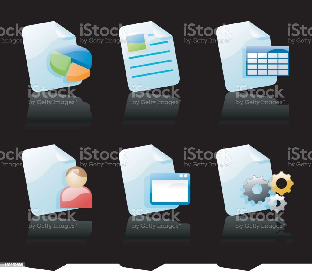 shiny icons: file types 2 (on black) royalty-free stock vector art
