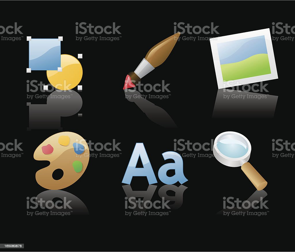 shiny icons: graphics (on black) royalty-free shiny icons graphics stock vector art & more images of black background