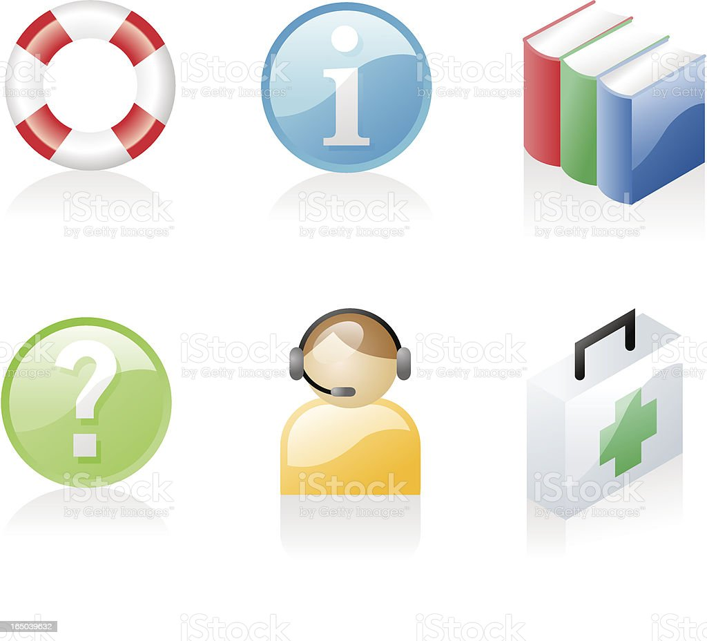 shiny icons: help & support royalty-free stock vector art
