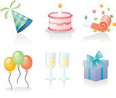 glossy vector icons on party and celebration related things. more images in this series:
