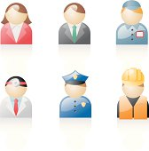 glossy web 2.0 style vector icons of people of different professions