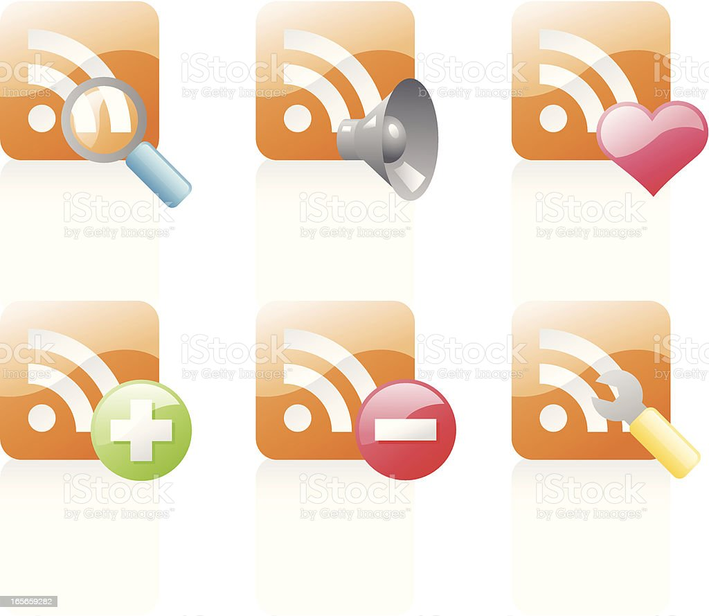 shiny icons: rss feed royalty-free stock vector art