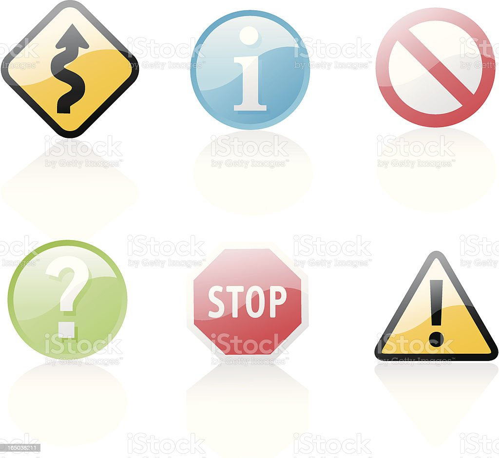shiny icons: signs vector art illustration