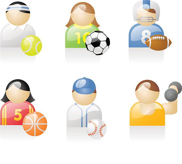 shiny icons: sports people vector art illustration