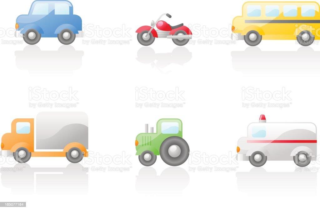 shiny icons: transportation royalty-free stock vector art