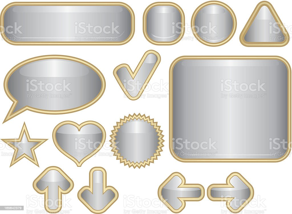 Shiny Icons, Web Buttons Set - Silver royalty-free stock vector art