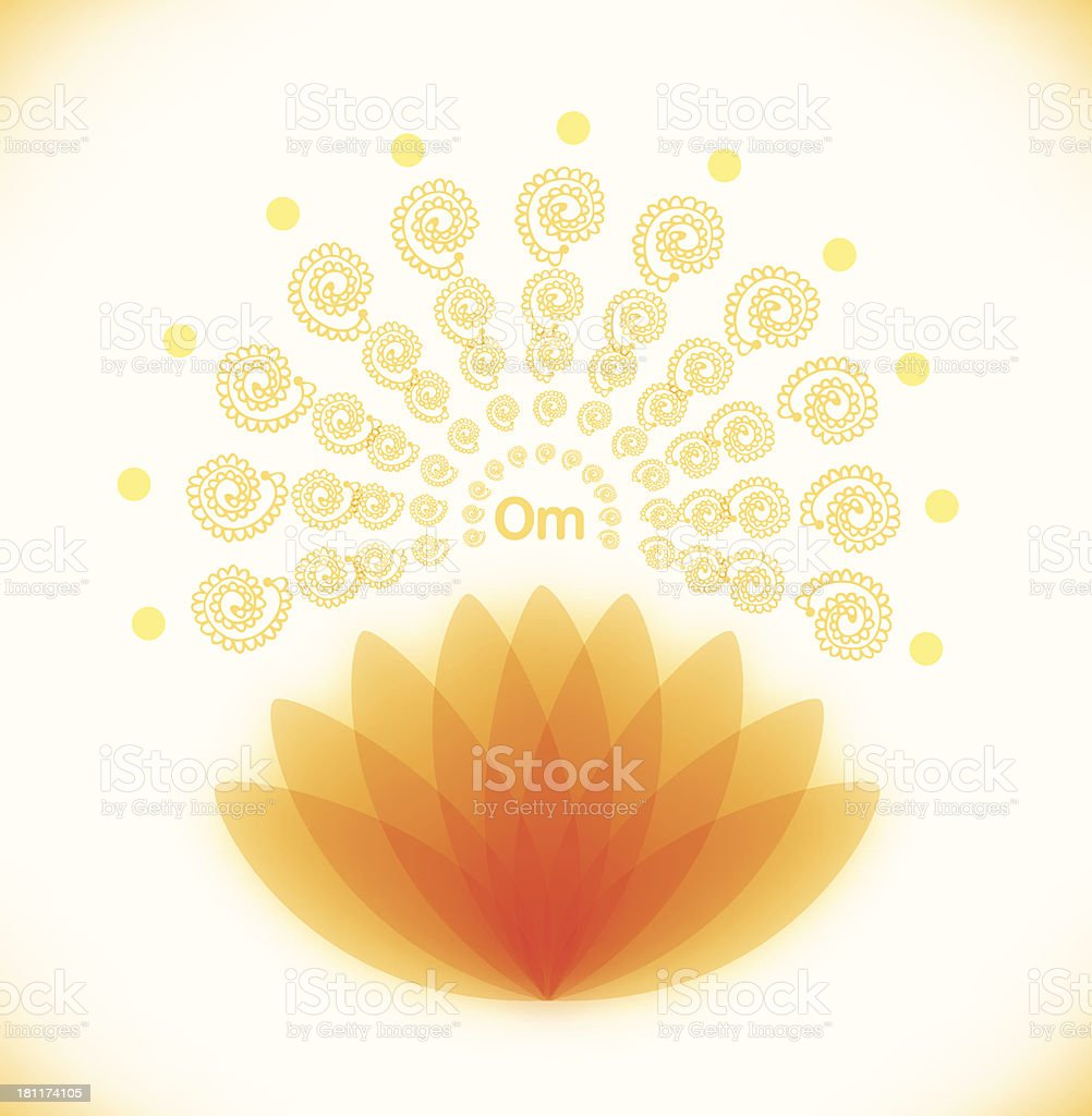 Shiny image with lotus  Buddhistic banner vector art illustration