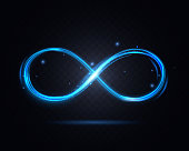 Shiny Infinity Symbol on a Dark Transparent Background for Web and App Graphic Design. Vector illustration of Decor Element