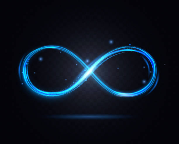 Shiny Infinity Symbol on a Dark Transparent Background. Vector Shiny Infinity Symbol on a Dark Transparent Background for Web and App Graphic Design. Vector illustration of Decor Element eternity stock illustrations