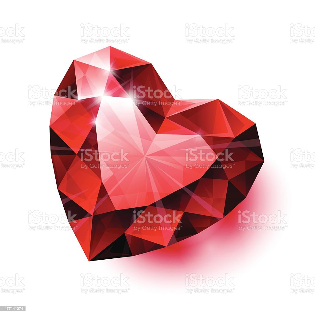 Shiny isolated red ruby heart shape with shadow on white