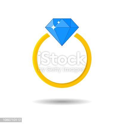 istock Shiny jeweled golden ring. Diamond engagement and wedding ring. 1050710112