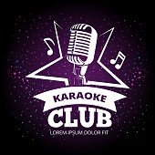 Shiny karaoke club vector label design. Karaoke music club label illustration