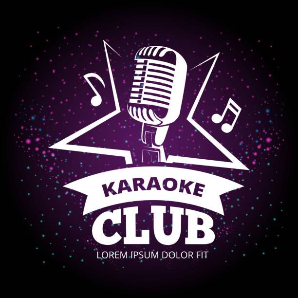 stockillustraties, clipart, cartoons en iconen met glanzende karaoke club vector etiketontwerp - zingen
