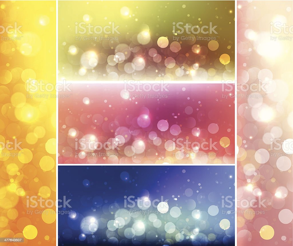 Shiny lights abstract banner and background set vector art illustration