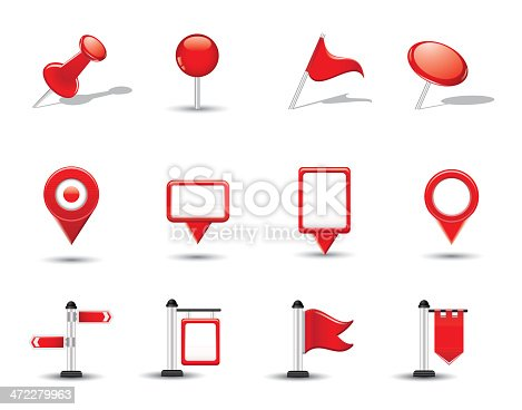 istock Shiny Map Symbols, Flags and Pins 472279963