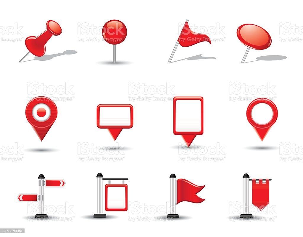 Brillante Mapa de símbolos, banderas y contactos - ilustración de arte vectorial