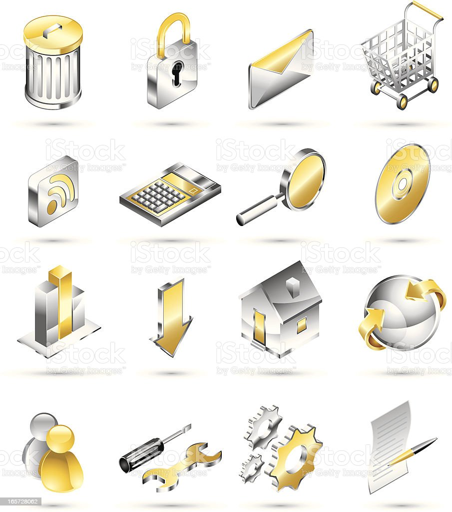 Shiny Metal and Gold Isometric Icons royalty-free stock vector art