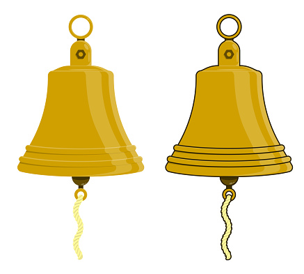 shiny metal ship bell on mount. Ringing bell on boat. Colored vector in cartoon style
