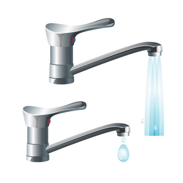 glänzendes metall armaturen mit starker wasserfluss und starker rückgang - waschküchendekorationen stock-grafiken, -clipart, -cartoons und -symbole