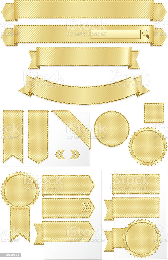 Shiny Metallic Gold Striped Ribbons, Banners Set royalty-free stock vector art