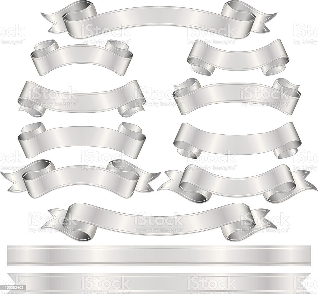 Shiny Metallic Silver Banners, Ribbons Set vector art illustration