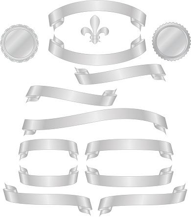 Shiny Metallic Silver Banners, Ribbons, Stickers, Fleur de Lys Set