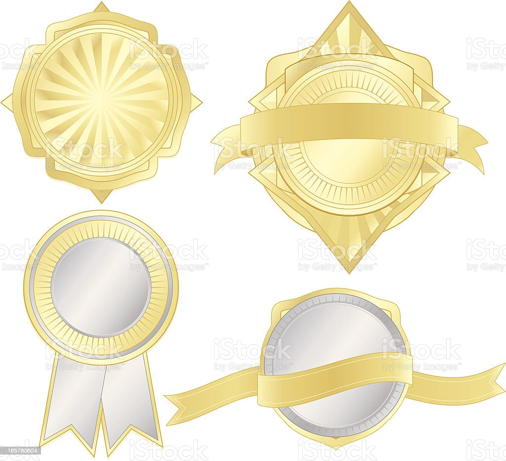 Shiny Metallic Silver, Gold Emblems, Stickers, Ribbons Set royalty-free stock vector art