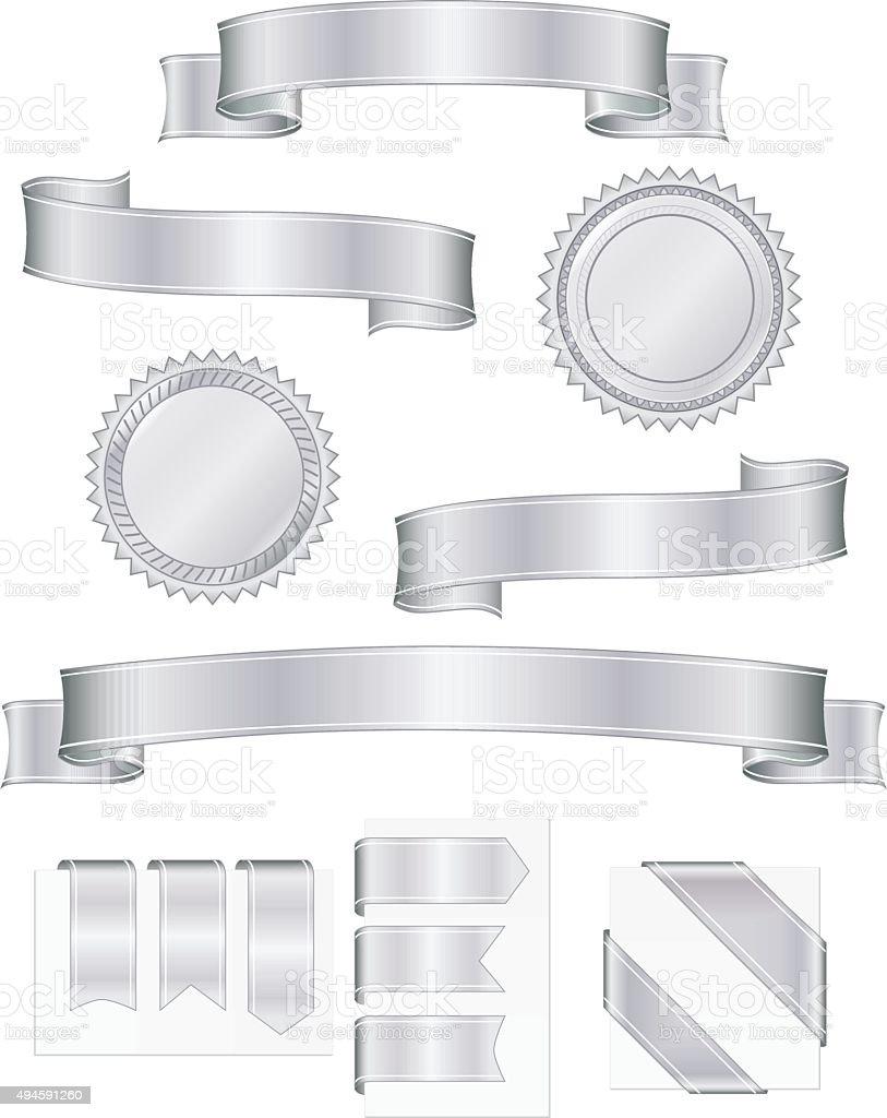 Shiny Metallic Silver Ribbons, Stickers Set vector art illustration