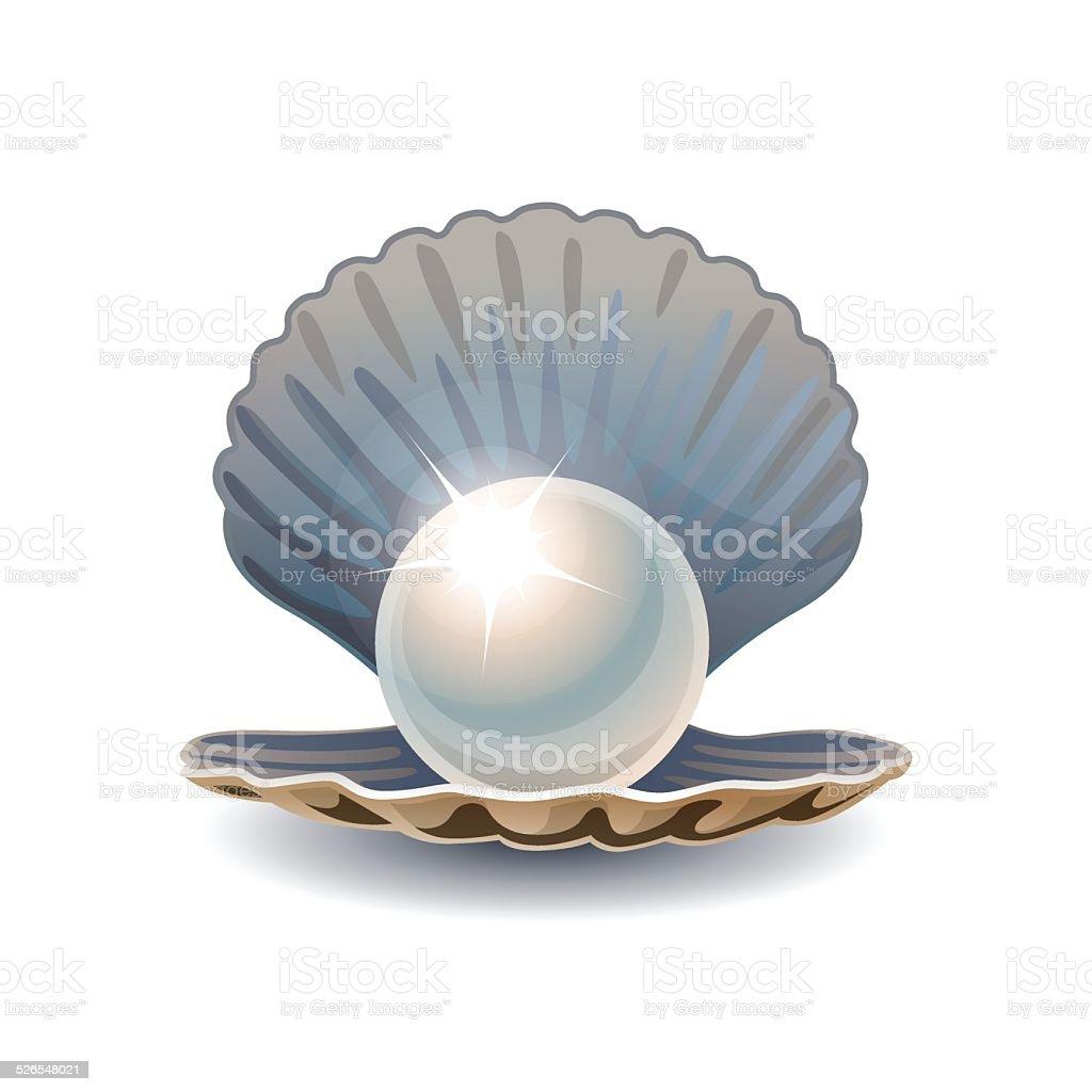 Shiny pearl in opened seashell vector art illustration