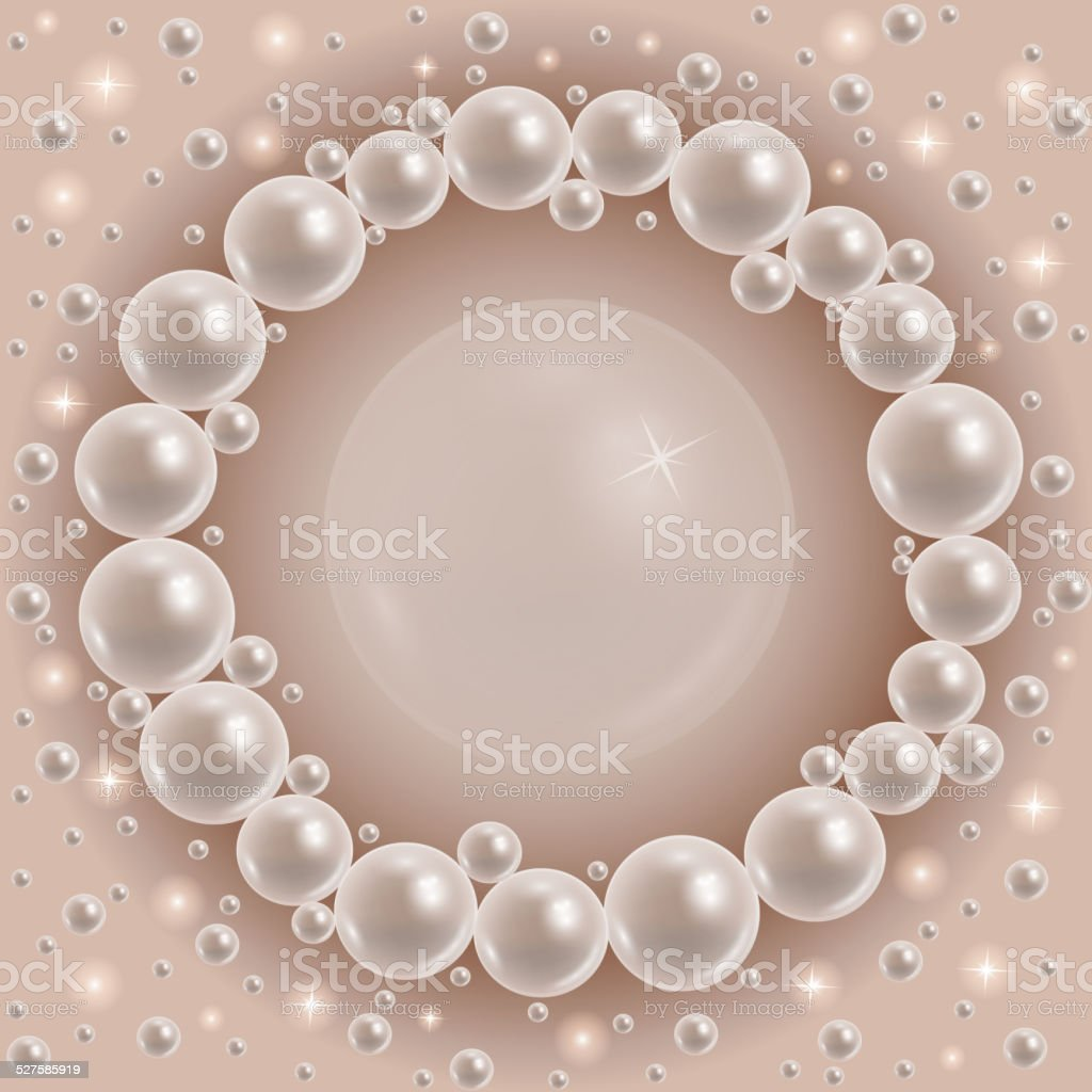 Shiny pearls round frame vector art illustration