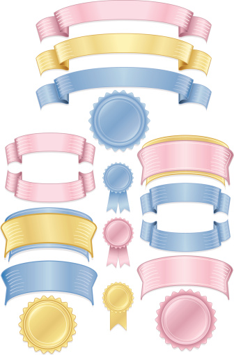 Shiny Pink, Blue, Gold Stickers, Tags, Labels, and Ribbons Set