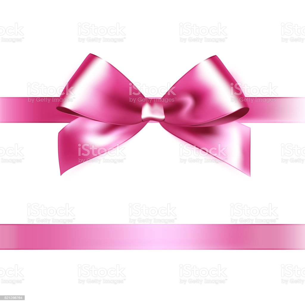Shiny pink satin ribbon on white background vector art illustration