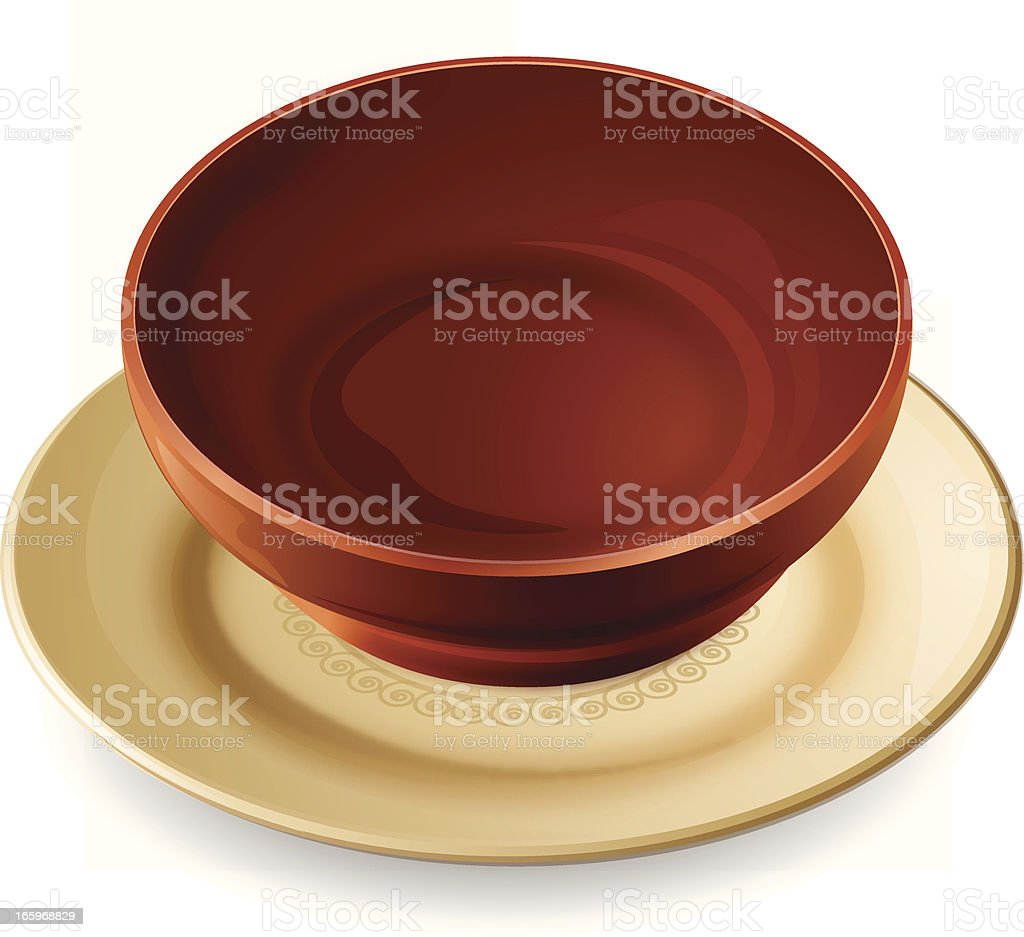 Shiny Plate and Bowl vector art illustration