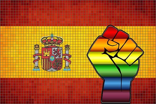 Shiny Protest Fist on a Spain Flag
