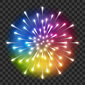 Shiny rainbow firework on transparent background for Your holiday design