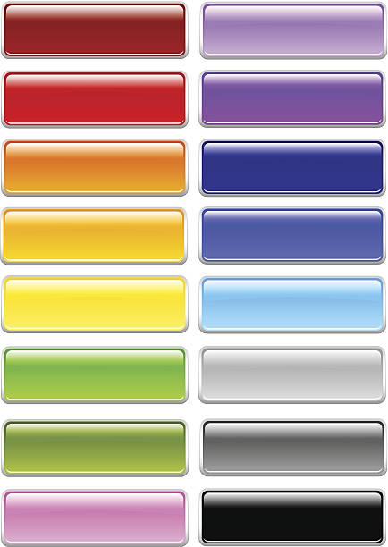 shiny rectangle menu buttons - byteandpixel stock illustrations