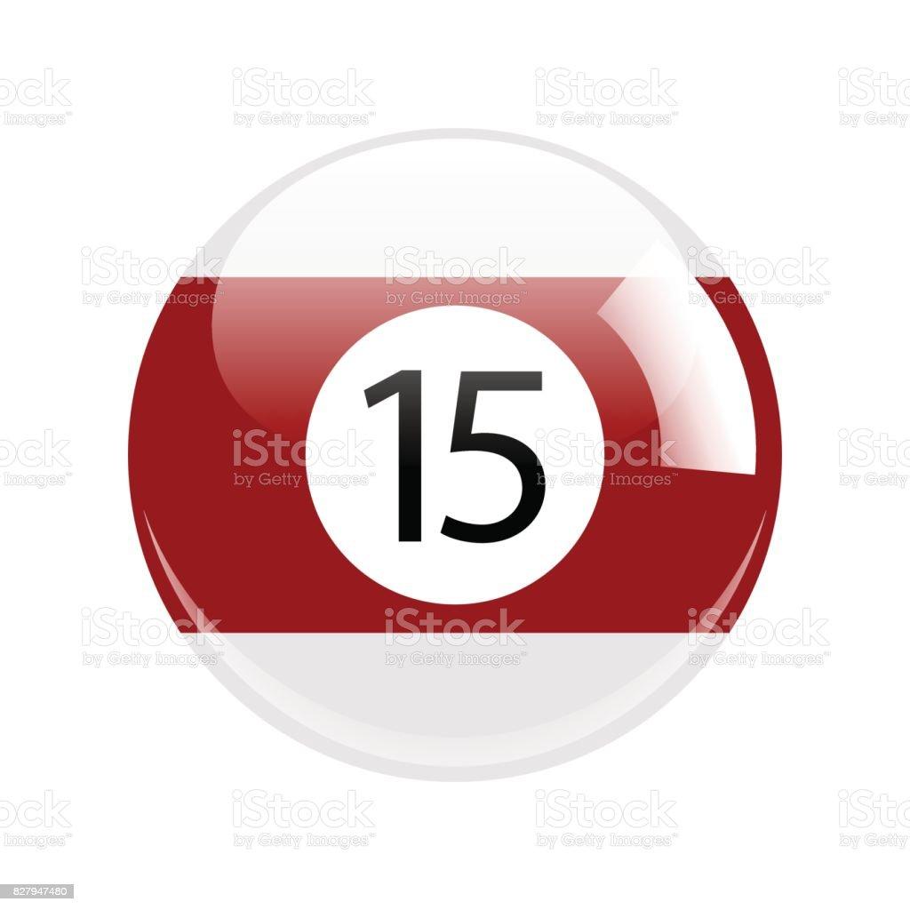 Piscina de quince rojo brillante - billar bola icono Vector aislado  ilustración de piscina de quince ad8fcc4e36f9a