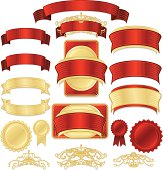 Shiny red satin, gold metallic seals, stickers, labels, medals, ribbons, banners, flourishes, design elements. Mixable layers. Copy space. ***OPTIONAL drop shadows, decorative lines, borders.***