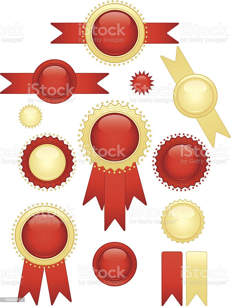 Shiny Red, Gold Seals and Stickers Set royalty-free stock vector art