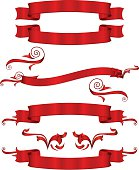 Set of shiny red metallic satin banners, ribbons, stickers, and ornaments. Copy space.