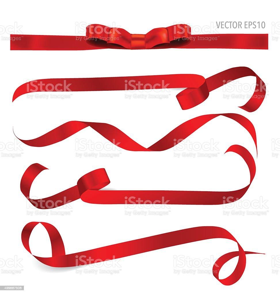 Glänzend roten Band. Vektor-illustration. – Vektorgrafik
