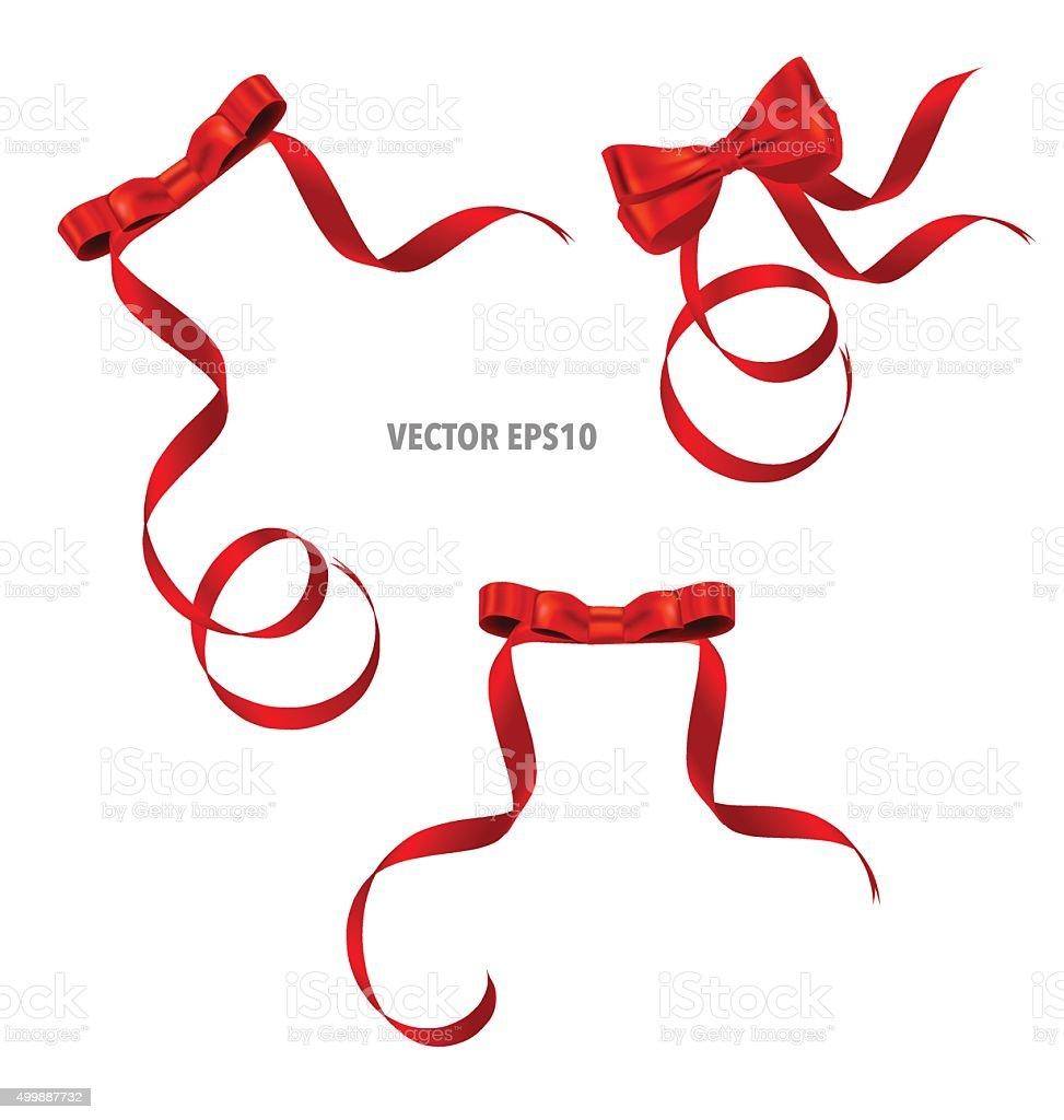 Shiny red ribbon. Vector illustration. vector art illustration