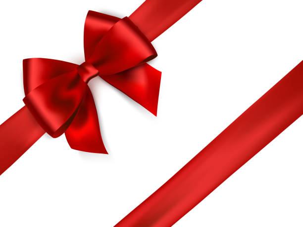 błyszcząca czerwona satynowa wstążka na białym tle. - gift stock illustrations
